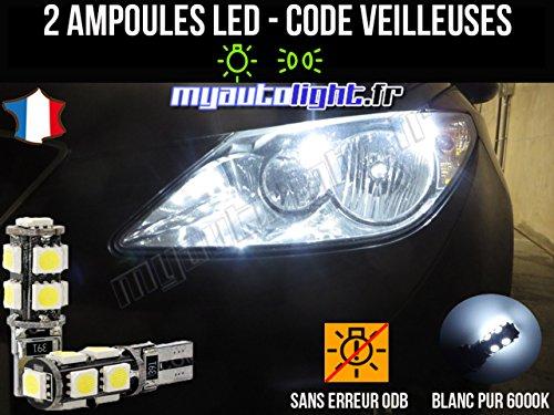 MyAutoLight - Pack Ampoules Voiture Pour IBIZA 6J - Veilleuses - Blanc Pur Effet Xénon