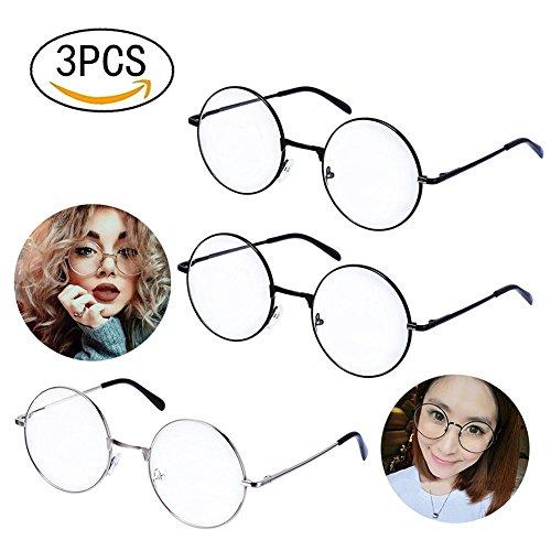 Ukainiemai 3 Paar Unisex Retro Runde Brille Metall Frame Schwarz,Silbern Farbe Metall Klare Linse Brillenfassungen Damen Herren Brillenfassung Fensterglas (Round) (Metall Damen)