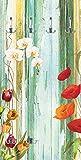 Artland Qualitätsmöbel I Garderobe mit Motiv Holz Bedruckt und Metall Haken Botanik Blumen Mixed Media Bunt F1HH Bunte Blumen