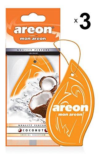 Areon Mon Deodorante Profumo Auto Cocco Dolce Tropical Arancione Originali Da Appendere Pendente Specchietto Retrovisore Cartoni 2D Casa Set ( Coconut Pack x 3 )
