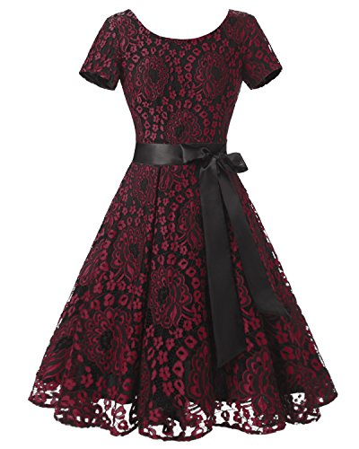 dresstells-womens-vintage-floral-lace-contrast-bow-cocktail-evening-dress-fuchsia-size-16