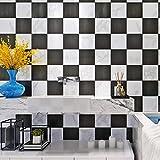 Wallpaper,® Moderne Schwarz Und Weiß Squares Kontakt Papier Selbstklebend Schälen Und Stick Ziegelsteinwand Wandbild 3,8X 16,7Cm/Rolle Home Decor