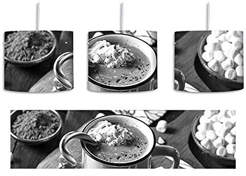 heisse Schokolade mit Zuckerstange Kunst B&W inkl. Lampenfassung E27, Lampe mit Motivdruck, tolle Deckenlampe, Hängelampe, Pendelleuchte - Durchmesser 30cm - Dekoration mit Licht ideal für Wohnzimmer, Kinderzimmer, Schlafzimmer