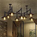 DKSJ Vintage Style loft industriel Plafonnier en fer forgé American Restaurant Bar Bar Art Magasin de vêtements,lampe,5 sans lumière...