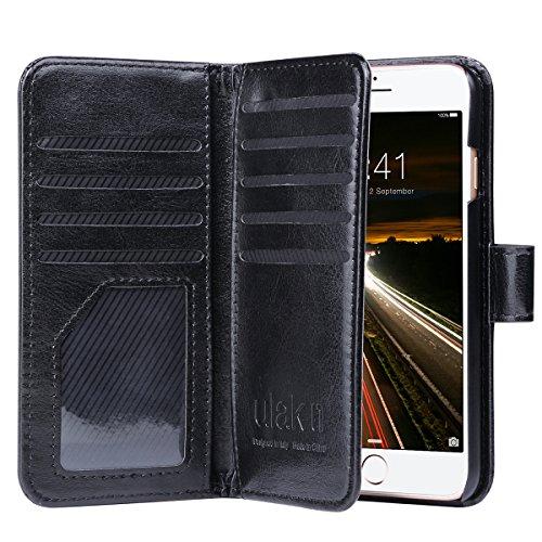 iPhone 7 Hülle, ULAK Flip Case Cover Stoßfest TPU Case Lederhülle mit Ständer Schutzhülle für Apple iPhone 7 4.7 Zoll mit 9 Kartenschlitz (Rosé Gold) Gold