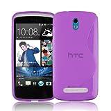 Cadorabo DE-101240 HTC Desire 500 Handyhülle aus flexiblem TPU Silikon im S-Line Design Soft Back Cover Case Bumper Flieder Violett