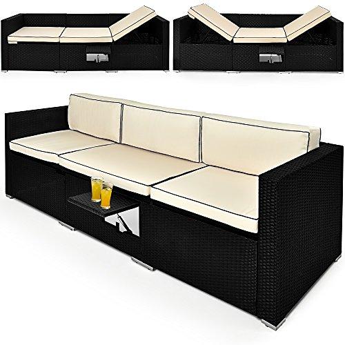 Deuba Poly Rattan Gartenliege Sofa 7cm Dicke Auflagen & 20cm Dicke Kissen Verstellbare Lehnen Klapptisch 3 Sitzer Sonnenliege Couch Lounge