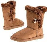 Damen Winter Schuhe Boots Damenstiefel Winterstiefel, Farbe Camel, Gr. 38