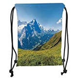 Drawstring Backpacks Bags,Nature,Peaks of Swiss Alps in Sunny Summer Day Flowers Valley Nothern Rural Print Deco Decorative,Green Blue Soft Satin,5 Liter Capacity,Adjustable String