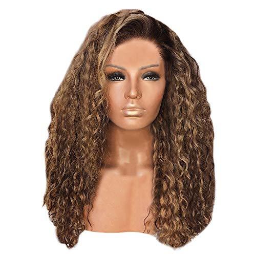 Gaddrt 65cm Frauen Mode Afro Lange Verworrenes Lockiges Haar Braun Wellenförmige Perücken Sexy Perücke Party Falsche ()