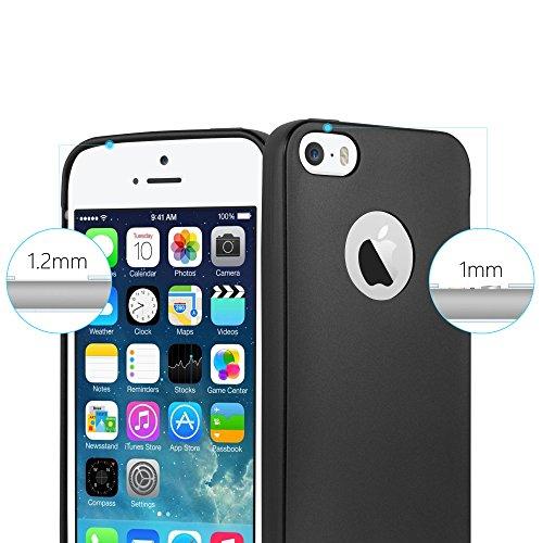 Cadorabo - Ultra Slim TPU Gel (silicone) Coque Métallique Mat pour Apple iPhone 5 / 5S - Housse Case Cover Bumper en METALLIC-NOIR METALLIC-NOIR
