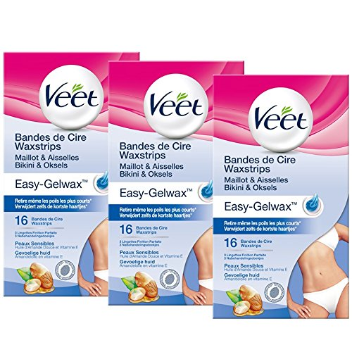 16 Veet Kaltwachsstreifen Fr Achsel Bikinizone Haarentfernung Enthaarung Vitamin E Und Mandell Wachs Wax