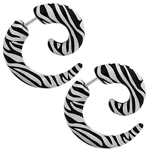 tumundo 2 Fake-Dehner Ohr-Stecker Stopfen Plug Dehn-Schnecke Spirale Horn Piercing Animal-Print Ohrring Acryl Edelstahl