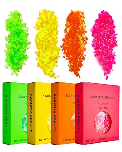 KARIZMA NEONS Glitter Pack Beauty 40 g Festival Glitter Cosmetic Chunky Face Körper Fluo Neon Fluorescent