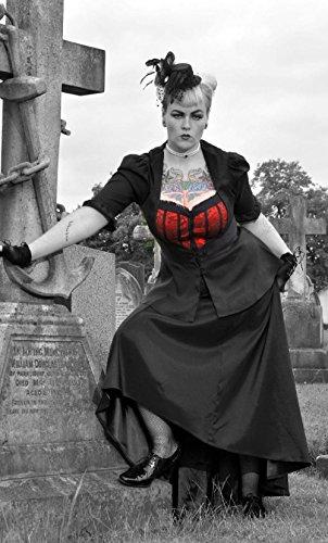 Gothic Lolita Burleske Steam Punk Satin bestickt Bustier Bluse oder Jacke. Gr. 36-58 Schwarz
