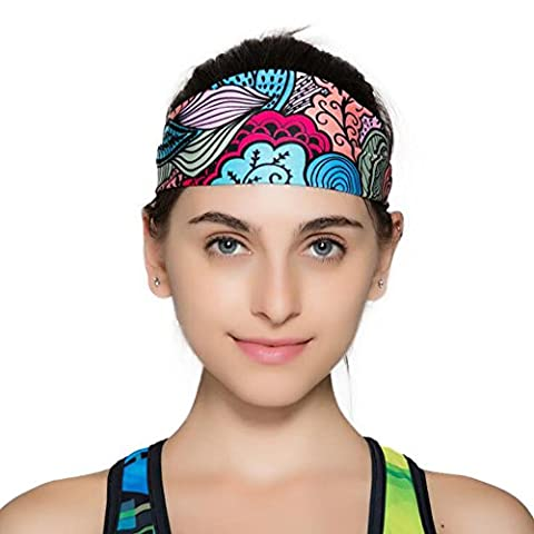 Ezyoutdoor Pack of 2 Pieces Anti-slip Elastic Yoga Sweatband Flowers