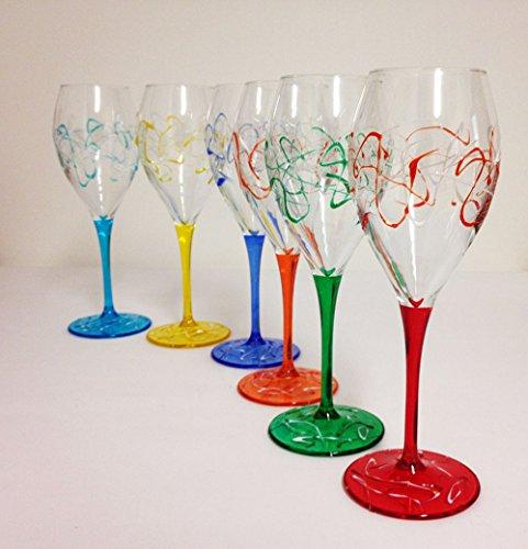 Set von 6 Weingläsern Jazz cl. 32,5 monocolour von Hand bemalt Glas, Murano Venedig Stil (Bemalt Weingläser Von Hand)