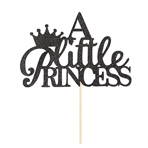innoru eine kleine Prinzessin Cake Topper, Sweet Baby Dusche Geburtstag Party Princess Krone Dekorationen supplies-black Glitzer