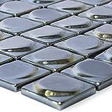 Glasmosaik Fliesen Accra Schwarz 3D Rund für Mosaikstein Badfliesen Bad Wandverkleidung