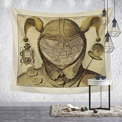 Tapestry Wall Hanging,Nordic Moderne Psychedelic Hippie Persönlichkeit Helm Der Welt Drucken Fabric Wall Tuch Für Zu Hause Wohnzimmer Hintergrund Wandbehang Stranddecke Karte, 150 X 200 cm -