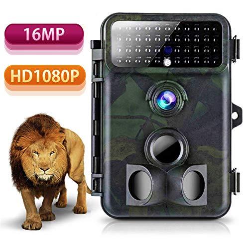 Wildkamera 16MP 1080P HD Tvird Beutekameras mit 125°Weitwinkel Infrarote 20m Nachtsicht, 42 IR LEDs, Wasserdichte IP66 Jagdkamera mit Bewegungsmelder zur Wildbeobachtung und Haussicherheit 1080p-hd-42