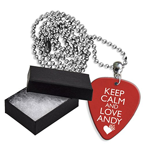 Keep Calm And Love Andy Biersack Black Veil Brides Boxed Metal Chitarra Pick Necklace Collana (GD)