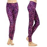 Phennie da allenamento da donna leggings a vita alta stretch yoga pantaloni da corsa collant, donna, Purple/Pink, S