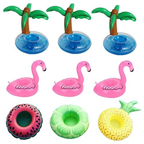 Aufblasbare Pool Coasters Getränkehalter,dancepandas aufblasbare Getränke Halter für Summer Pool Party Deko,5 Stil von 9 Stück (Mit Pool Getränke-halter)