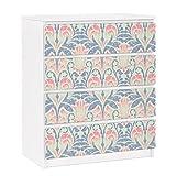Apalis 91278 Möbelfolie für Ikea Malm Kommode - selbstklebende Leinen Damast Ornament, größe 4 mal, 20 x 80 cm
