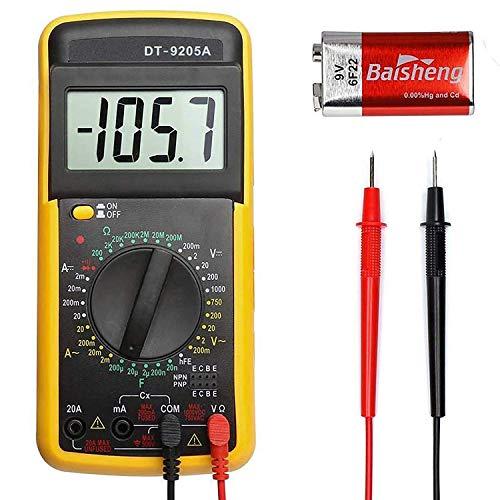 DT9205A Digitales Mini-Multimeter, LCD-Display, misst Spannung, Strom, Widerstand, Kontinuität, Frequenz, Kapazität