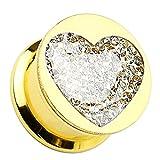 Piersando® Flesh Tunnel Ohr Piercing Plug Ohrpiercing Schmuck aus Edelstahl in Gold vergoldet mit Herz Kristall Inlay Motiv 10mm