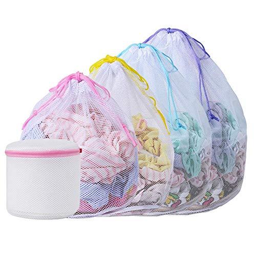 Hifuture Wäschebeutel, 5 PCS Verdickter Fine Mesh Drawstring Wäschenetz Für Waschmaschine Wäschesack Wäschebeutel für Oberbekleidung, Dessous, Socken,Strümpfe und Baby Kleidung(Grobes Netz)
