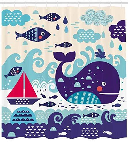ABAKUHAUS Orientale Tenda da Doccia, Mezza Mandala Floreale, Stampa Digitale Moderna, 175 x 200 cm, Beige Scuro Talpa