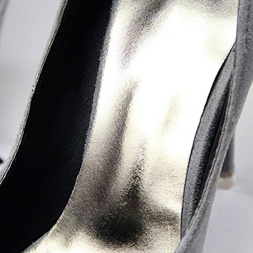JNTworld 2016 Printemps Stylet Hauts Talons Pointu Orteil Pompes Chaussures Gris