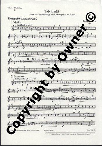 Plöner Musiktag: B Tafelmusik. Flöte, Trompete oder Klarinette und Streicher (hoch, mittel, tief). Trompete (Klarinette) in C.