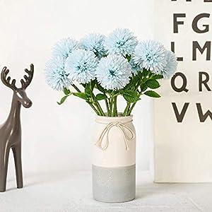 JUSTOYOU Artificial Seda Flores Falsas Diente de León Hortensia Bouquet Floral para Boda, Fiesta de cumpleaños, Decoración del hogar(Orange,10pcs)
