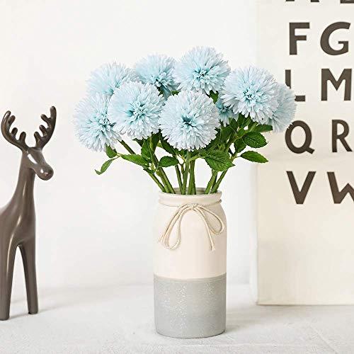 Justoyou seta artificiale fiori finti dente di leone ortensia floreale bouquet per matrimoni, festa di compleanno, decorazione della casa  (blu, 10pcs)