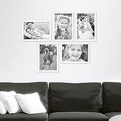 5er Bilderrahmen-Set 21x30 cm DIN A4 Photolini Basic Collection Modern Weiss aus MDF inklusive Zubehör / Bilderrahmen-Collage