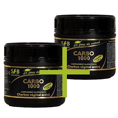 Sfb Laboratoires–Carbón vegetal activo en polvo, 2tarros de 150g