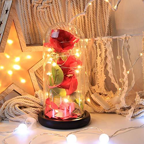 Urmagic Die Schöne und das Biest Rosen-Set,Rote Seidenrose mit LED Lichterkette, einige abgefallene Blütenblätter, Schön Unechte Blumen,Verzauberte Rose Set mit Beleuchtung in einer Glaskuppel