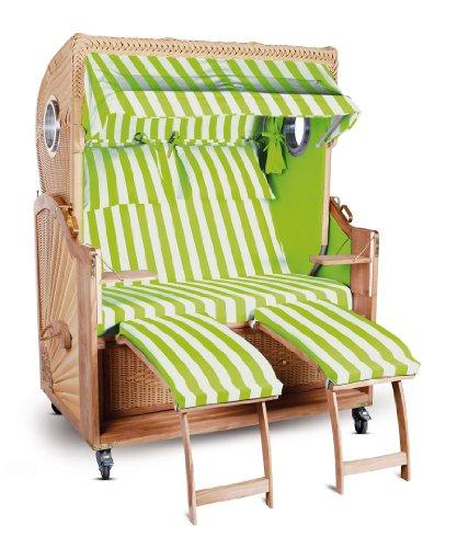 Strandkorb Kampen Spezial Hellgrün Weiß gestreift Seiten hellgrün 2,5-Sitzer Bullauge