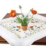 Stickpackung SOMMERWIESE, Komplettes vorgezeichnetes Tischdecken Set zum Sticken, Stickset mit Stickvorlage für Erwachsene