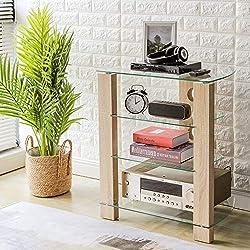 RFIVER Meuble HiFi Tablette Console de Rangement avec 4 Étagères Verre Trempé et Bois Support Télé DVD Lecteur HF1003