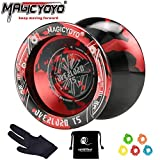 YOSTAR Yoyo Professionale MAGICYOYO T5 Plus Overlord Non risponde Yoyo, Realizzato in Lega di Alluminio, Stabile e Resistente, con 5 Corde, Borsa, Guanto (Nero & Rosso)