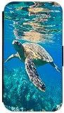 Kuna Flip Cover Design K564 Schildkröte im Wasser Blau für Samsung Galaxy S5 Mini G800 Hülle aus Kunst-Leder Handytasche Etui Schutzhülle Case Wallet Buchflip Rückseite Schwarz Vorderseite Bedruckt mit Bild (564)