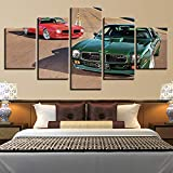mmwin Decoración Modular Posters Picture On Wall Art Home Moderno Panel 5 Green Sports Car Living HD Canvas Impreso