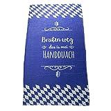 Handtuch Bratzn weg, 80x150 cm, 100% Baumwolle, Bavariashop Bayerisches Duschtuch, Farbe Blau Weiß
