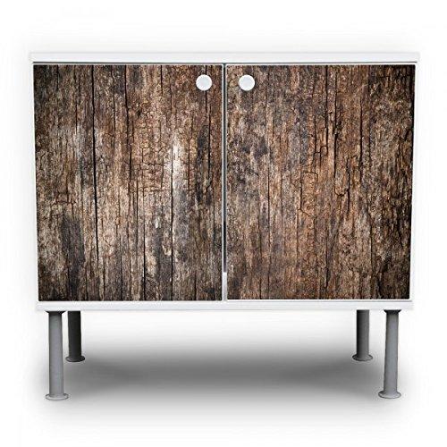 #banjado – Badunterschrank 60x55x35cm Design Waschbeckenunterschrank mit Motiv Altes Holz#