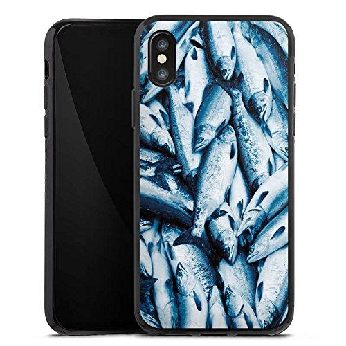 Apple iPhone X Silikon Hülle Case Schutzhülle Fisch Der Fang Fische Silikon Case schwarz