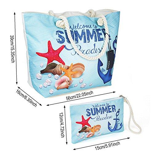 Große Strandtasche mit Reissverschluss, ZWOOS Damen Shopping Shopper Tasche Reisetasche Canvas Schultertasche für Reise, Kaufen, Ausflug usw. (Elephant) Anker